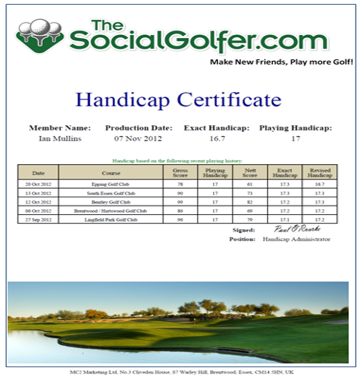 Golf Certificate Template Free