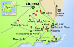 Golfing in Spain map