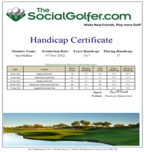 TSG Golf Handicap Certificate