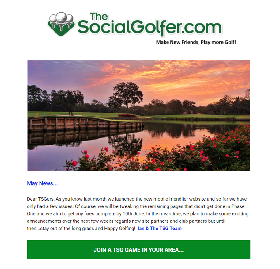 The Social Golfer Monthly Newsletters