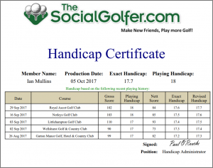 Golf Handicap Certificate